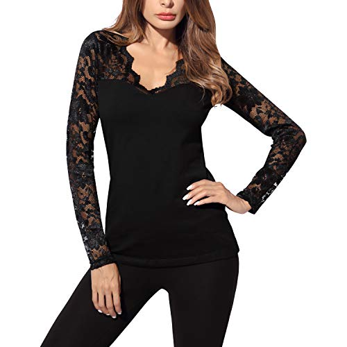 DJT Damen Langarmshirt Bluse V-Ausschnitt Kragen mit Floraler Spitze Schwarz M