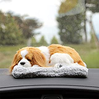 RubyShopUU Car Ornament Cute Simulation Plush Sleeping Dog Cat Toy Bamboo Charcoal Bag Air Purifier Decoration Creative Air Freshener Gift