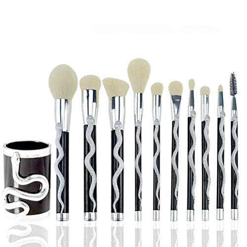 10pcs / set Brosses Fondation Correcteur Lèvres Eyeliner fard à paupières Blending Maquillage Maquillage Maquillage et pinceau de maquillage Bucket Make Up Kit brosses outil (Color : Silver)
