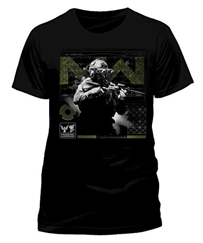 Call of Duty Modern Warfare - Soldier Pose Green - Tshirt Nera Uomo Manica Corta Stampa Frontale - Prodotto Ufficiale Maglia Maglietta (S)