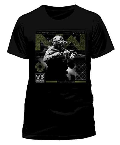 Call of Duty Modern Warfare – Soldier Pose Green – Camiseta negra de manga corta con impresión frontal – Producto oficial de camiseta