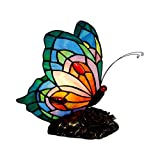 LITFAD Bedside Table Lamp Stained Glass Butterfly Desk Light 1 Head Tiffany Antique Plug-in Table Light with Flower Body for Bedroom Hotel Office - E