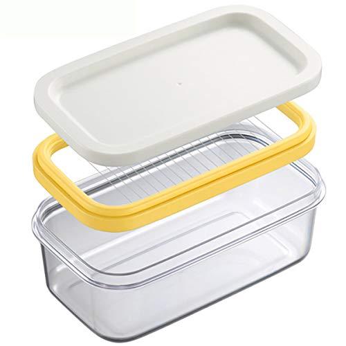 Mantequillera gexu, almacenamiento para mantener fresco, corte, plástico, acero inoxidable, transparente, se puede cortar en el frigorífico, fácil de colocar y limpiar, 17 cm x 10 cm x 7 cm