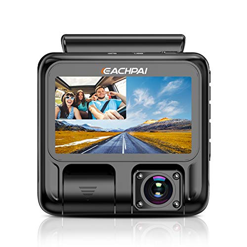 Dual Dash Cam Full HD 1920x1080P Inside and Outside Car Camera Dash Cams 3' LCD with Super Capacitor, Sony Sensor, WDR, Super Night Vision, G-Sensor, Loop Recording, Motion Detection for Uber Lyft