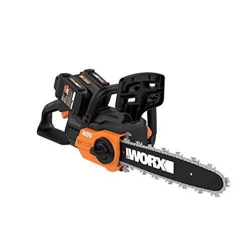 "WORX WG381 12"" Cordless Power Share 40V w/Auto Tension Chain Saw, Black and Orange"