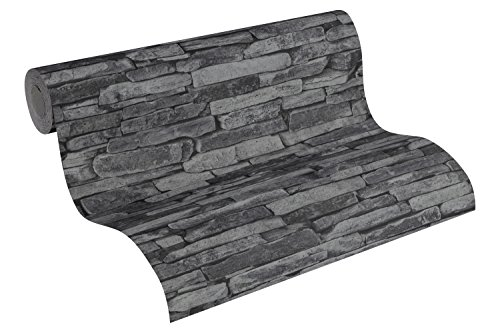 *A.S. Création Vliestapete Best of Wood and Stone Tapete in Stein Optik fotorealistische Steintapete Naturstein 10,05 m x 0,53 m grau schwarz Made in Germany 914224 9142-24*