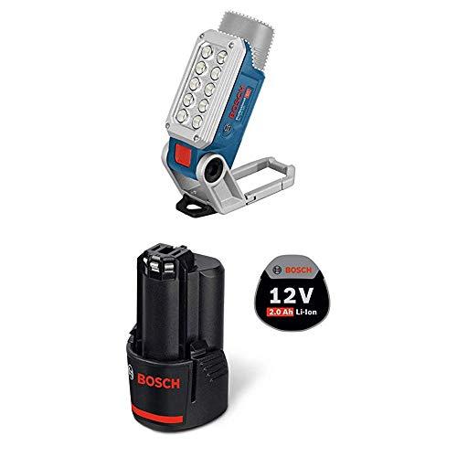Bosch Professional LED Akku Lampe GLI 12V-330 (12 V, 330 Lumen, Betreibszeit: 180 min/Ah, im Karton) & Professional 12 V Akku (GBA 2,0 Ah, 175 g Gewicht, kompatibel mit 12V) 1600Z0002X
