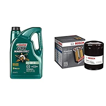 Castrol 03057 GTX MAGNATEC 5W-30 Full Synthetic Motor Oil 5 Quart + Bosch 3330 Premium FILTECH Oil Filter
