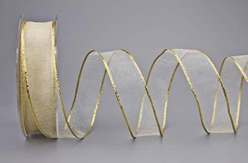 Chiffon Dekoband (0,80€/m) CREME / Gold 20 m x 25 mm Rolle Chiffonband Organza mit Goldkante glänzend transparent Geschenkband Drahtkantenband Schleifenband elegant festlich Dekoration Weihnachten