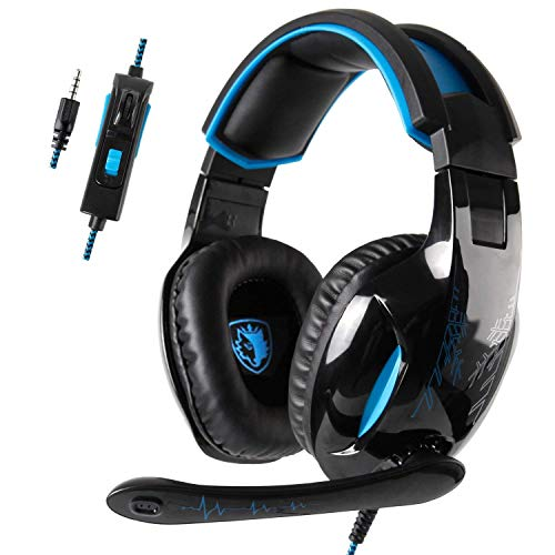 SADES SA816 PS4 spelheadset hörlurar med mikrofon 3,5 mm On Ear Surround Sound hörlurar och volymreglering för PS4 Xbox One PC laptop surfplatta mobiltelefoner