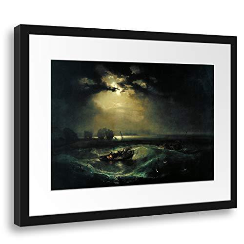 Printed Paintings Passepartout (55x40cm): William Turner - Fischer auf See