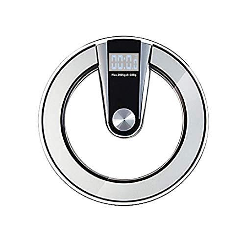 XUQHU Escala ElectróNica,Basculas De Peso BañO,Vidrio Templado de 6 mm con Pantalla LCD retroiluminada tecnología de Pasos de Alta precisión Escala electrónica Gray