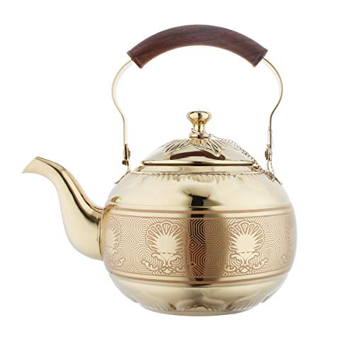 OMGard Gold Tea Pot with Infuser Loose Tea Leaf Filter 1.5 Liter Stainless Steel Teapot Coffee Water Small Kettle Strainer Set Warmer Teakettle for Stovetop Induction Stove Top 1.6 Quart / 51 Ounce