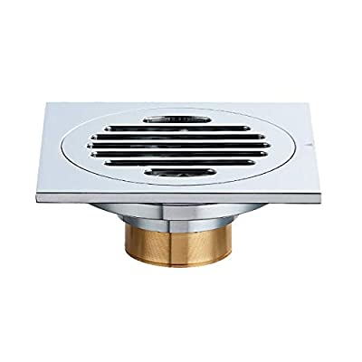 4 inch Square Shower Drain,PartsExtra Tile Insert Floor Drainer with Removable Cover Grate, Hair Catcher Strainer,Made of Solid Brass Chrome Finish