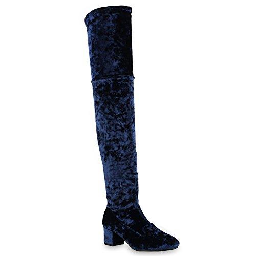 Damen Schuhe Stiefel Overknees Samt-Optik Leicht Gefütterte Langschaftstiefel Blockabsatz 127117 Blau Samtoptik 38 Flandell