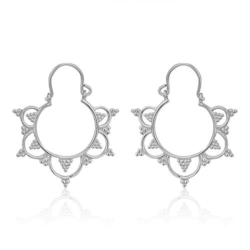Vanbelle Sterling Silver Jewelry Chandelier Bali Hoop Earrings with Rhodium Plating for Women and Girls