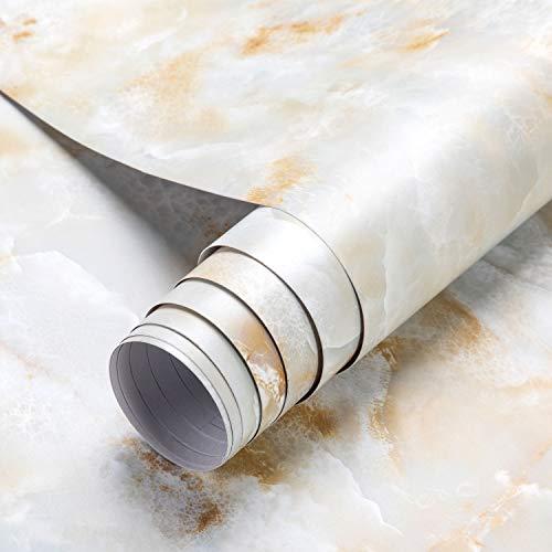 2 Rolles 0.61 * 5M Marmor Tapete Möbelfolie Klebefolie Selbstklebend Aufkleber Dekofolie Möbelsticker Wand wasserdicht Folie für Schlafzimmer Küche, Schrank, Tisch(Type B)