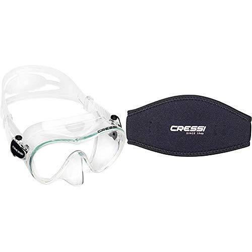 Cressi F1 Mask Máscara Monocristal Tecnología Frameless, Unisex, Transparent, L + Mask Strap - Funda de Correa de Surf, tamaño único, Color Negro