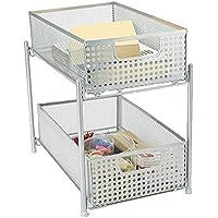 Mind Reader 2-Tier Silver Mesh Cabinet Storage Organizer