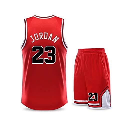 WELETION Kinder Trikot Bulls Jordan Nr. 23 Jersey Basketball Shirt Weste Top Shorts für Jungen und Mädchen(XXL)