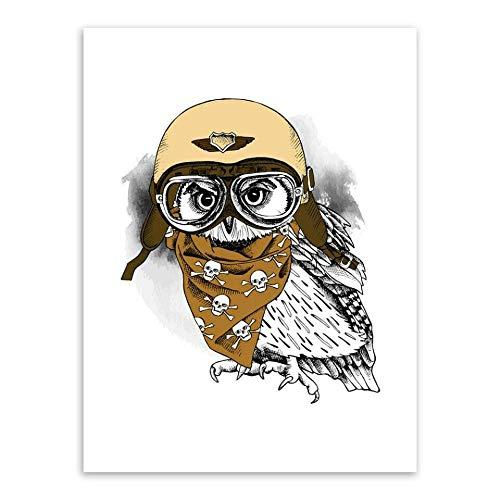 Kreative Karikatur Netter Pilot Pilot Hut Mode Tier Schöne Haustier Malerei Leinwand Wandkunst Poster Wohnkultur Kinderzimmer Kinderzimmer 40 * 50cm