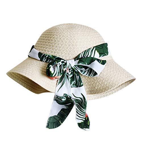 DOLDOA Hut Damen Sommer,Damen-Frauen-beiläufiger Fester breiter Rand-Diskette Faltbarer Stroh-Strand-Hut (Beige)