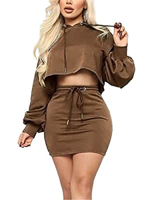 Women's 2 Piece Lightweight Hoodies Long Sleeve Pullover Sweatshirts Drawstring Crop Tops + Casual Skirt Sets Tracksuits Brown