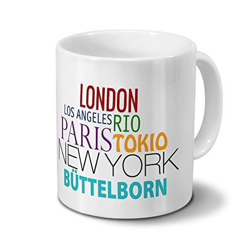 Städtetasse Büttelborn - Design Famous Cities of the World - Stadt-Tasse, Kaffeebecher, City-Mug, Becher, Kaffeetasse - Farbe Weiß