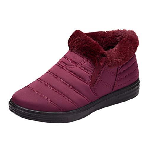 feiXIANG Damen Schuhe Wasserdicht Kurze Stiefel Warme Schneeschuhe Winter Verdicken Boots(Wein,35)