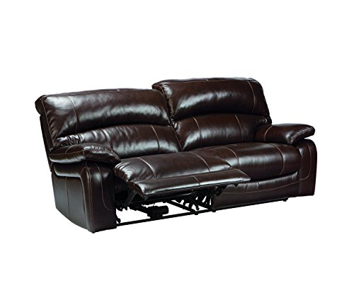 Ashley Furniture Signature Design - Damacio Recliner Sofa - Power Reclining - Dark Brown