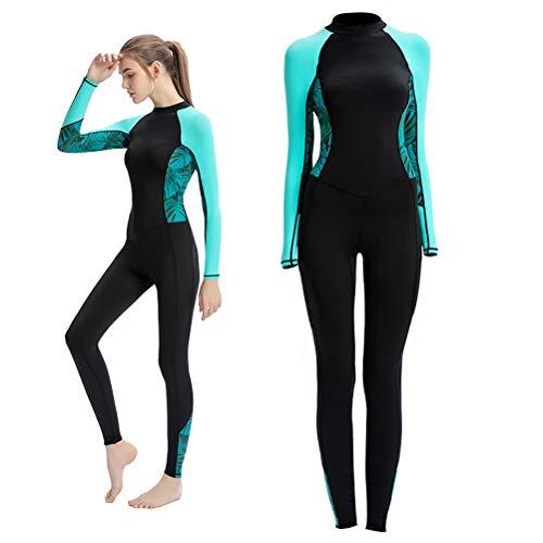 Trajes de neopreno para mujer de 1 pieza, de nailon, de manga larga, para surf, natación, con cremallera de espalda larga, ideal para deportes acuáticos, buceo, snorkel, surf, natación, piragüismo