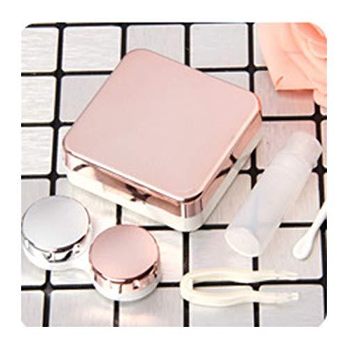 LDGR Farbige Kontaktlinse-Kasten Mit Spiegel Frauen Farbige Kontaktlinsen Kasten Augen Kontaktlinsenbehälter (Color : Rose Gold)
