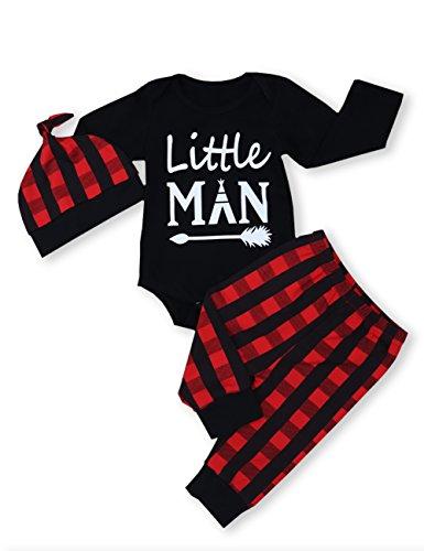 Newborn Baby Boy Girl Clothes Little Man Long Sleeve Romper,Plaid Pants + Cute Hat 3pcs Outfit Set (A-Black,0-3 Months)