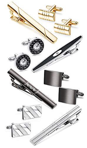 YADOCA Krawattenklammer und Manschettenknöpfe für Männer Krawatte Krawattenklammern Business-Shirts Smoking Hochzeitsgeschenk mit Box Silber-Ton Gold-Ton Schwarz