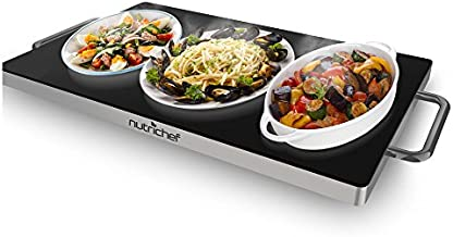 NutriChef Portable Electric Hot Plate - Stainless Steel Warming Tray Dish Warmer w/ Black Glass Top - Keep Food Warm for Buffet Serving, Restaurant, Parties, Table or Countertop Use - PKWTR45