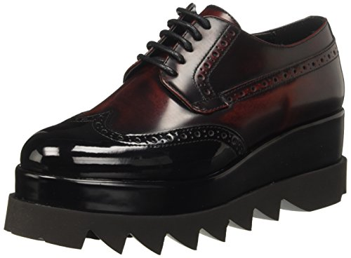 Cult Alice Low 892, Scarpe Stringate Basse Brogue Donna, Rosso (Bordeaux Black), 35 EU