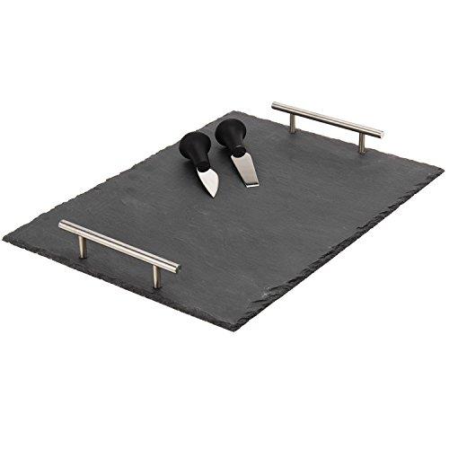 Servierplatte aus Schiefer 30x40cm inklusive 2 Messer und Kreide, Servierteller, Servierständer