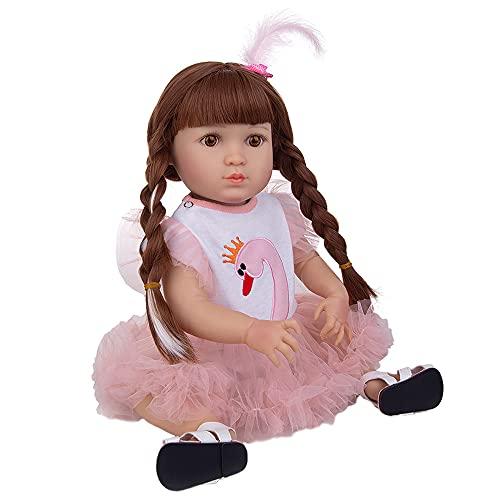 YIHANGG Muñecas Reborn Silicona 19 Pulgadas para Bebés 49 CM Bebe Reborn Realistas para Recién Nacidos Colección De Juguetes para Niños Regalo para Niños Sorpresa De Cumpleaños,Brown Eyes