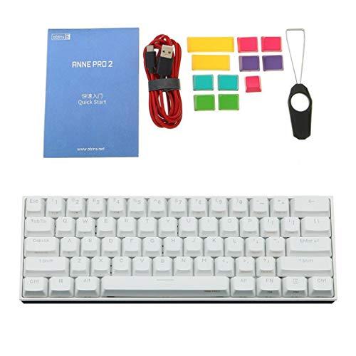2021 Anne Pro 2 Teclado mecánico, NAOTAI Bluetooth 5.0 Tipo-C RGB luz trasera 61 teclas teclado de oficina para juegos interruptor cereza (tamaño: S Color: W)