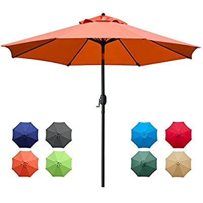Sunnyglade 9Ft Patio Umbrella Outdoor Table Umbrella with 8 Sturdy Ribs (Orange)