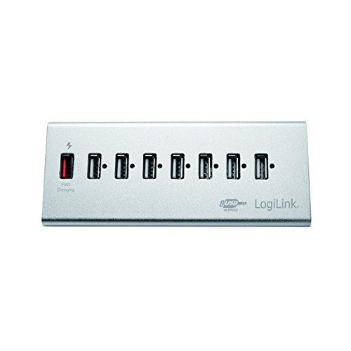 LogiLink UA0225 USB 2.0 Hub 7-Port + 1x Schnell-Ladeport mit Smart IC / LED Anzeige / Überspannungsschutz, für Windows & MAC OS