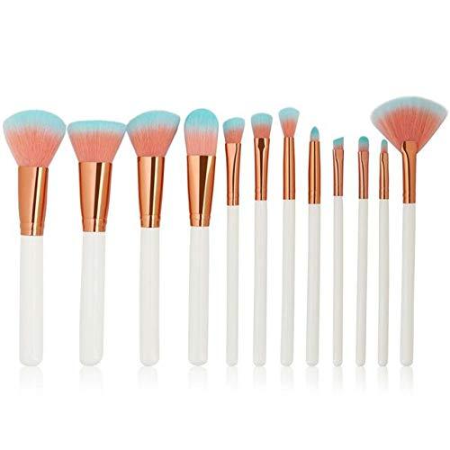 HZSLRL 6-12Pcs / Pack Pinceaux De Maquillage Ensemble De Cosmétiques Fondation Poudre Blush Ombre À Paupières Mélange Lèvres Maquillage Beauté Brosse Kits D'Outils 12Pcs Blanc