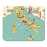 Alfombrilla de ratón para juegos Mapa de Italia de Italia con animales y lugares de interés Paisaje de comida italiana Florencia Decoración Accesorios de computadora de oficina Soporte de goma antides