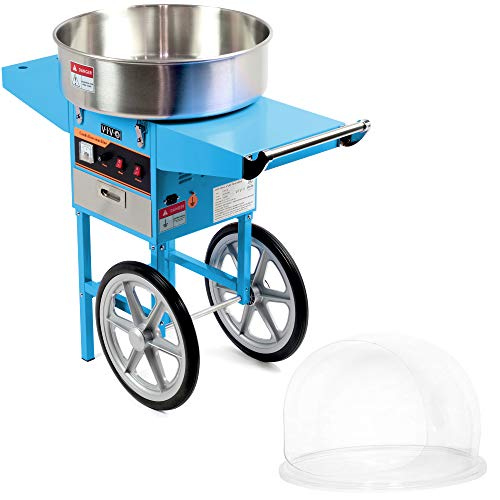 VIVO Blue Electric Commercial Cotton Candy Machine/Candy Floss Maker, Mobile Cart with Bubble Shield CANDY-KIT-2B