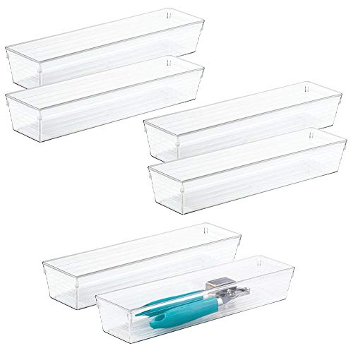 mDesign Plastic Kitchen Cabinet Drawer Organizer Tray - Storage Bin for Cutlery, Serving Spoons, Cooking Utensils, Gadgets - BPA Free, Food Safe, 12' Long, 6 Pack - Clear