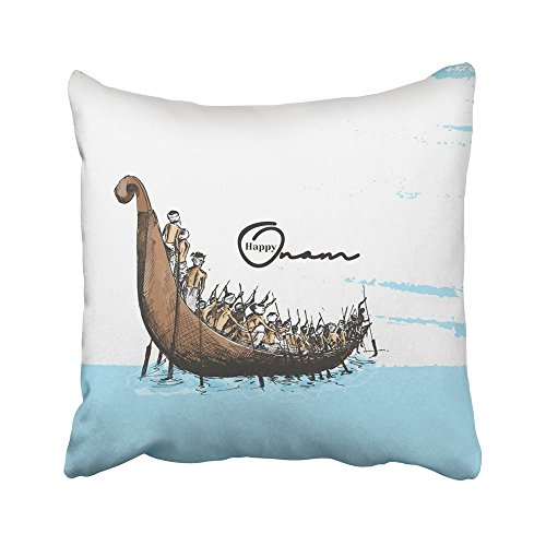 Bue Time Throw Pillow Covers Kerala Boot am Fluss auf South Idnian Festival Onam Race Schlange Cochin Malayalam Abstract Asian