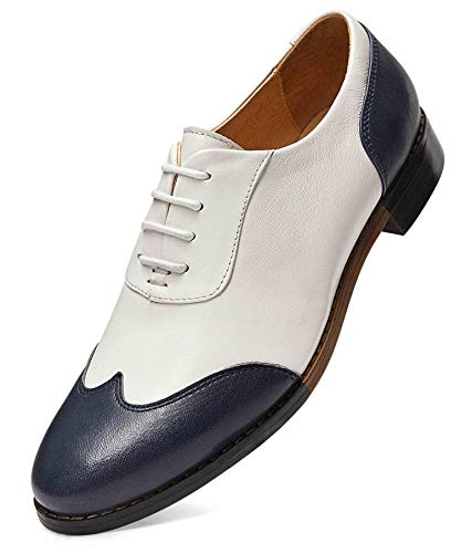 Women's Oxfords Brogue Leather Wingtip Lace up Flats Formal Wedding Dress Shoes for Girls Ladies 8 Blue White