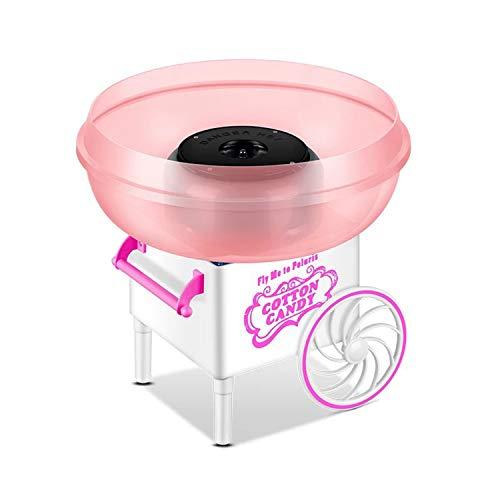 Máquina eléctrica comercial de algodón para hacer dulces, hacer hilo de dulces, regalo creativo con cuchara para el hogar, cumpleaños, fiesta familiar (rosa)