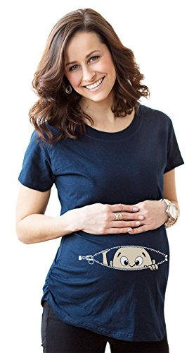 Crazy Dog Tshirts - Maternity Baby Peeking T Shirt Funny Pregnancy Tee for Expecting Mothers (Navy) - M - Femme