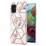 Coque pour Xiaomi Redmi Note 10 4G, Marbre Motif Glitter Bling Etui TPU Silicone Gel Bumper...